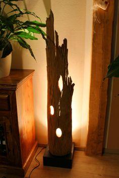 XL Stehlampe Teak Treibholz Schwemmholz antik shabby Lampe Leuchte Bodenlampe