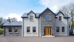 Donegal Slate With K Rend Finish - Coolestone Stone Importers Suppliers Masonry Tyrone Northern Ireland Stone Front House, House Front, Stone Masonry, Slate Stone, Country Style Homes, Donegal, Stone Houses, Northern Ireland, Modern Design