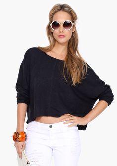 Black jumper and white denim