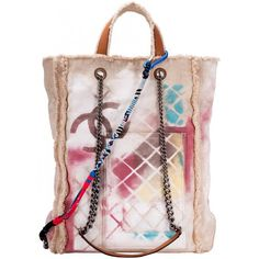 7578e9292f64f günstig original Chanel Beige Graffiti Canvas Tote Shopper Tasche mit CC  Logo