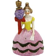 Vintage German Crown Top Perfume Bottle Victorian Woman with Bouquet of Flowers