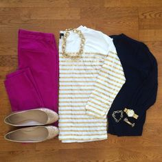The navy holds this whole thing together. Gold Stripe Tee, Cardigan, Old Navy Pixie Pants, Glitter Flats Casual Outfits, Fall Outfits, Cute Outfits, Estilo Fashion, Ideias Fashion, Look Office, Teaching Outfits, Teaching Clothes, Pixie Pants