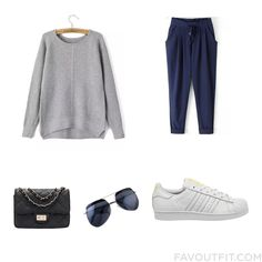 Ootd Mix & Match Including Sweater Loose Pants Adidas Sneakers And Black Bag From November 2015 #outfit #look