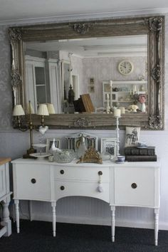 Awesome mirror over 'old white' chalk paint