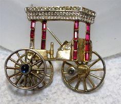 Vintage Crown Trifari Sterling Silver Brooch Trolley Cart ~ Book Piece~ As Is