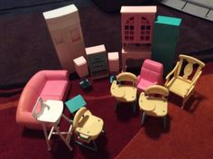 Vintage barbie dream house #furniture lot stereo #hutch sofa #desks speakers frid,  View more on the LINK: http://www.zeppy.io/product/gb/2/171976998788/