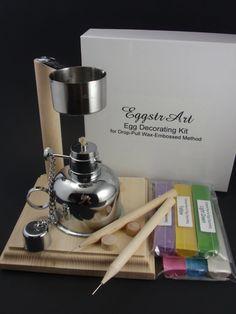 EggstrArt Egg Decorating Kit with Metal Alcohol Burner for Drop Pull Wax Embossed Method of Egg Decorating