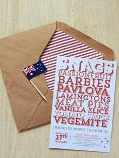 A printable Australia Day BBQ Invitation or party invite. Customise, order and print off as many invitations as you want Party Co, Party Time, Australian Party, Australia Day Celebrations, Aus Day, Aussie Bbq, Going Away Parties, Anzac Day, Party Invitations