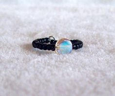 Black Seed Bead Pearlescent Pink Button Bead Memory Wire Ring