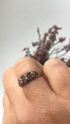 Fine Antique Victorian Gold Garnet Paste and Seed Pearl Etsy Vintage, Vintage Items, Vintage Jewelry, Diamond Flower, Rose Cut Diamond, Seed Pearl Ring, Victorian Ring, Ring Crafts, Three Stone Rings