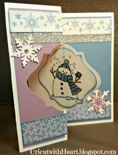 Cricut with Heart: Snowman Swing Card using CTMH Flakey Friends C1506 and Artiste cartridge