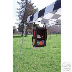 Canopy Camp Organizer...sew one of these..use a pop up cube, sew netting on sides and straps for hanging