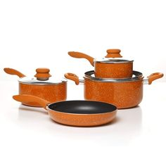 Simplemente Delicioso Casa Balboa Cookware Set, Orange ** More info could be found at the image url. (This is an affiliate link and I receive a commission for the sales) Cookware Set, Low Fat Cooking, Cooking Tips, Pots And Pans Sets, Orange Kitchen, Cooking Supplies, Pan Set, Fries In The Oven, Home