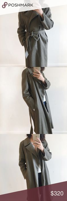 🆕 Club Monaco green wrapping long linen coat Only worn once right after I bought it. A lot of fashion bloggers favorite pick last spring. Sold out everywhere. Last two photos are from one of my fav fashion blogger wearing this coat. 64% linen and cotton and elastase inside so the material doesn't wrinkle like 100% linen does! ! I'm moving again so I will be posting many nice and expensive coats. Feel free to check the updates. Club Monaco Jackets & Coats