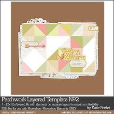Patchwork Layered Template No. 02 - Digital Scrapbooking Templates #quilting #instantdownlaod
