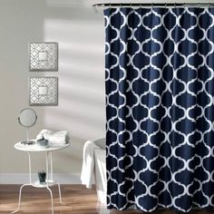 Shower Curtain Sabrina Soto Lace White Navy Turquoise Turquoise