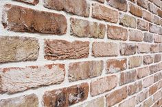Creating an old reclaimed brick effect, the bricks are tumbled together resulting in an old stressed reclaimed natural brick slip Brick Effect Tiles, Brick Tiles, Wall Tiles, Brick Cladding, Wall Cladding, Brick Detail, Brick And Stone, Red Bricks, Interior Walls