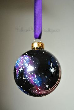 Glittered galaxy ornament create the constellation on a glass cosmos christmas ornaments google search solutioingenieria Gallery