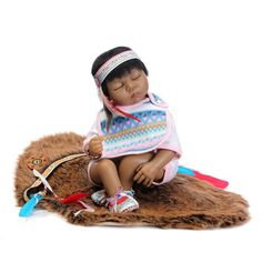 """97.02$  Buy here - http://alila1.worldwells.pw/go.php?t=32556606251 - """"22"""""""" 55cm Native American Indian Reborn Baby Doll Silicone Newborn Baby Doll Collectible Toys Girl for Kids"""" 97.02$"""