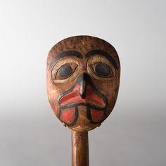 Two sided Tlingit Hawk rattle by unknown Tlingit artist