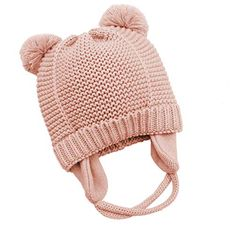 2eba2a724ea440 Jiuhong Baby Beanie Earflaps Hat Infant Toddler Girls Boys Soft Warm Knit  Hat Kids Winter Hat with Fleece Lining (Pink, Months)