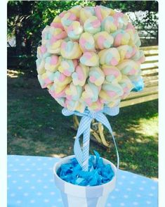 Shower Party, Baby Shower Parties, Baby Boy Shower, Marshmallow Tree, Lollipop Tree, Sweet Buffet, Sweet Trees, Baby Girl Baptism, Chocolate Bouquet