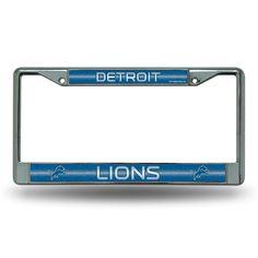 Detroit Lions NFL Bling Glitter Chrome License Plate Frame