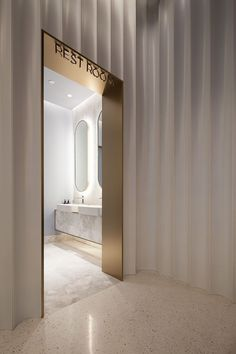 Clean fluted wall panels w/ lined opening #interiordesign