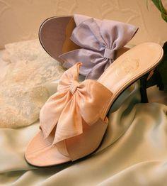 """""""Délice"""" & """"La Dame aux Lilas"""" in peach & lilac moiré http://store.leschaussonsdelabelle.com"""