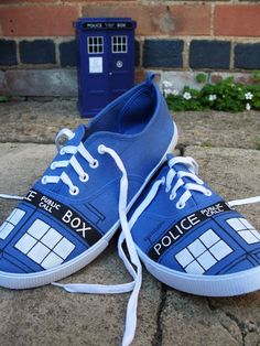 Etsy Transaction - Doctor Who hand-painted TARDIS shoes - UK 11/EUR 45 plimsolls