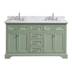 Home Decorators Collection Windlowe 61 in. W x 22 in. D x 35 in. H Bath Vanity in Green with Carrera Marble Vanity Top in White with White Sink - The Home Depot White Sink, Marble Vanity Tops, Vanity Sink, White Marble Countertops, Home Decorators Collection, Bathroom Vanity Tops, Green Vanity, Vanity Top, Bath Vanities
