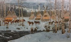 Original Oil Painting 157. Description: This extraordinary Oil painting by Listed Artist Ron Stewart (1941-) entitled Winter Comforts. Signed lower left: Ron Stewart @ (cyphers). Verso: titled. Dimens