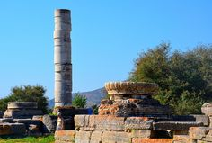 Remain of The Archaic Ionic temple of Hera at Samos, 510 BC. #Mycenaean Greeks who, fleeing from the collapse of their civilization after 1100 BC, founded coastal cities like Miletus, Priene, Ephesus and Smyrna by the eight century BC. Here and in numerous Aegean islands such as Samos, Chios, Naxos, Paros and Delos they created a refined and luxurious civilization.#