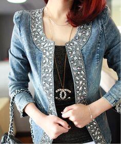 Brasão Fahion Denim Patchwork Exteriores Short Jeans Moda Retrô Mulheres de mangas compridas Jeans Rebites Jacket em Jaquetas Básicas - Femi...