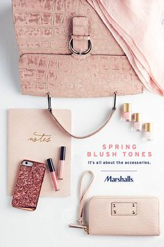 Spring is all about blush tones! Look for printed scarves, fun top-handle bags (think alligator-inspired!), plus notebooks and wristlets with metallic details. For a little added shimmer, say hello to a sparkle phone case — or grab the finishing touches from lip gloss to nail polish. Stop by to pick out your new spring accessories today!