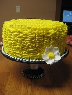 Yellow ribbon cake....Iced in buttercream w/fondant flower
