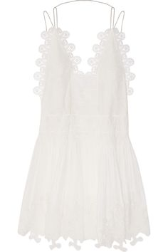 Chloé | Guipure lace and linen-blend mini dress | NET-A-PORTER.COM