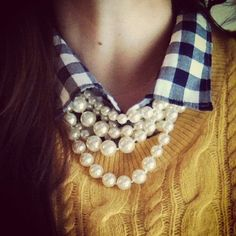 pearls... sweater... navy gingham button down.