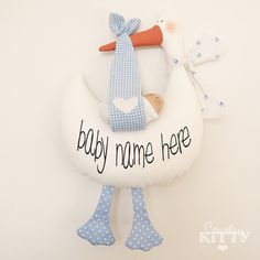 Stork softie newborn decoration Fiocco por CountrykittyHandmade