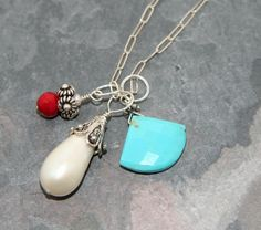Gorgeous Sleeping Beauty turquoise fan charm on sterling silver - add a charm
