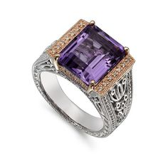 Still Classic and always beautiful......Amethyst and Diamond Ring at Ultra Diamonds.com