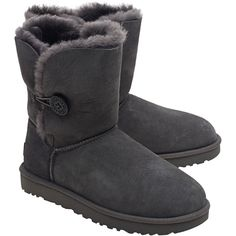 UGG Bailey Button Grey // Short shearling boots with button ($230) ❤ liked on Polyvore featuring shoes, boots, ankle booties, grey button boots, ugg, short booties, short boots and grey booties