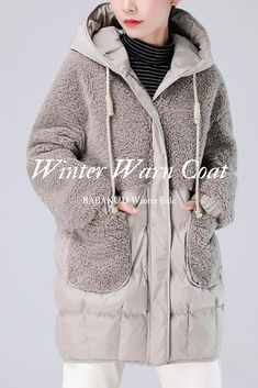 Type: Down CoatMaterial: CottonSeason: WinterStyle: Casual, Daily Waist type: Natural Silhouette: Loose, Casual Size: Sleeve Size: Sleeve Size: Cotton Velvet, Coats For Women, Lamb, Hooded Jacket, Your Style, Windbreaker, Stylish, Casual, Sleeves