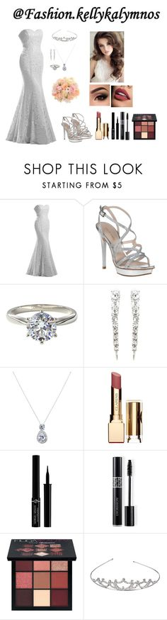 """the dream of the wedding #3"" by fashion-kellykalymnos on Polyvore featuring Pelle Moda, Oscar de la Renta, Clarins, Giorgio Armani, Christian Dior and Huda Beauty"