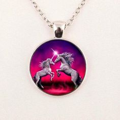 The Web's Unicorn Gift Store. Anything you can think of that might have a Unicorn on it; Unicorn Jewelry, Unicorn Necklace, Jewelry Art, Jewelry Accessories, Unicorn Gifts, Gift Store, Glass Art, Christmas Bulbs, Pendants