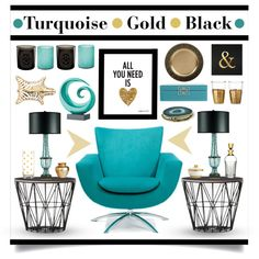 Turquoise • Gold • Black by lgb321 on Polyvore featuring interior, interiors, interior design, home, home decor, interior decorating, Waterford, Debenhams, Diptyque and Jamie Young