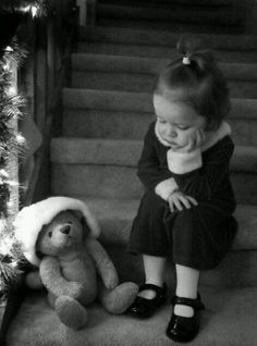 """❥I think she is pondering something. Maybe the meaning of Christmas or 'is that all I got was a Teddy Bear?"""" Love this photo. So many things she could be thinking. Precious Children, Beautiful Children, Poor Children, Sad Child, Little People, Little Girls, Cute Kids, Cute Babies, Baby Kind"""