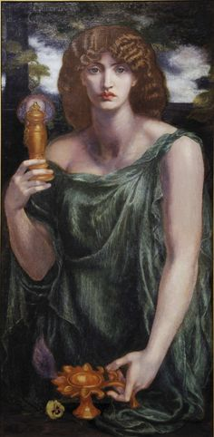 Mnemosyne by Dante Gabriel Rossetti, 1881 / source of the word mnemonic, was the personification of memory in Greek mythology. The titaness was the daughter of Gaia and Uranus and the mother of the nine Muses by Zeus.
