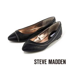STEVE MADDEN -- 拉鍊設計鞋面優感真皮微尖頭平底鞋 -- 輕熟黑 - Yahoo!奇摩購物中心