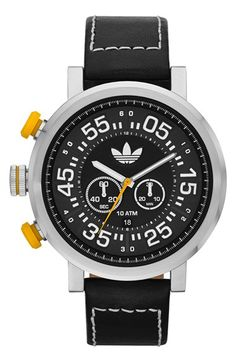adidas Originals 'Indianapolis' Chronograph Leather Strap Watch, 50mm available at #Nordstrom